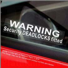 5 x Warning Security DEADLOCKS Fitted-Window Stickers-87x20mm-Car,Van,Boat,Lorry,Bus,Taxi,Bike,Home,Office,Business Security Signs